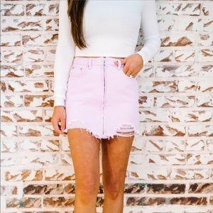Distressed Mini Skirt - Lavender